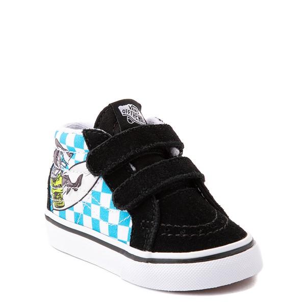 alternate view Vans Sk8 Mid Reissue V Xtreme Sharks Checkerboard Skate Shoe - Baby / Toddler - BlackALT5
