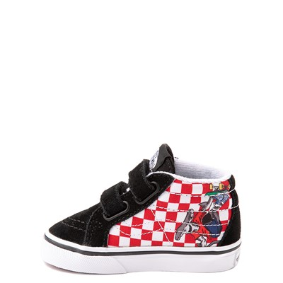 Alternate view of Vans Sk8 Mid Reissue V Xtreme Sharks Checkerboard Skate Shoe - Baby / Toddler - Black
