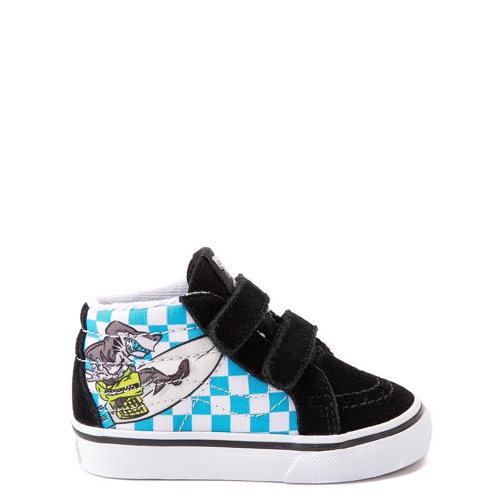 Vans Sk8 Mid Reissue V Xtreme Sharks Checkerboard Skate Shoe - Baby / Toddler - Black