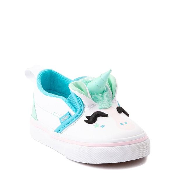 alternate view Vans Slip On V Disco Unicorn Skate Shoe - Baby / Toddler - WhiteALT5