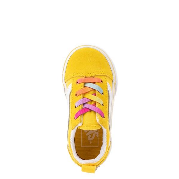 alternate view Vans Old Skool Skate Shoe - Baby / Toddler - Cyber Yellow / RainbowALT2