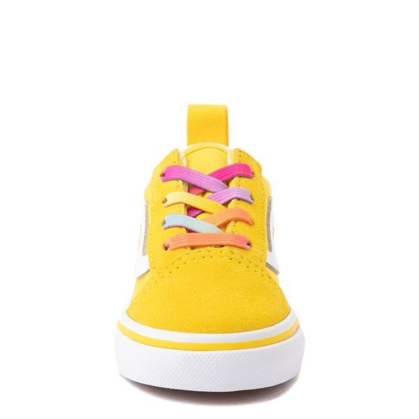 alternate view Vans Old Skool Skate Shoe - Baby / Toddler - Cyber Yellow / RainbowALT4