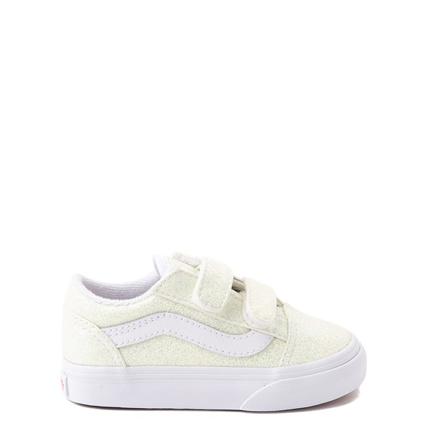 Main view of Vans Old Skool V Skate Shoe - Baby / Toddler - White / UV Glitter