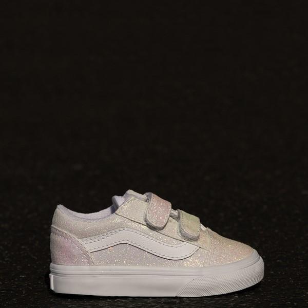 alternate view Vans Old Skool V Skate Shoe - Baby / Toddler - White / UV GlitterALT1