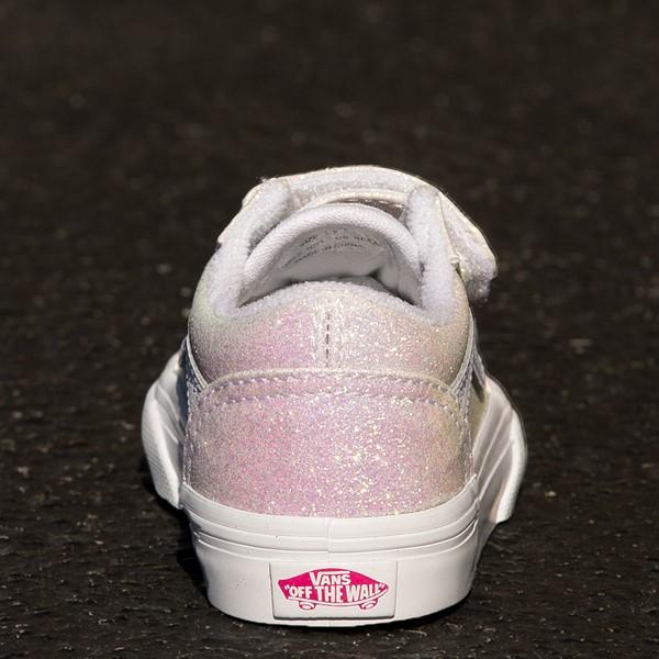 alternate view Vans Old Skool V Skate Shoe - Baby / Toddler - White / UV GlitterALT4