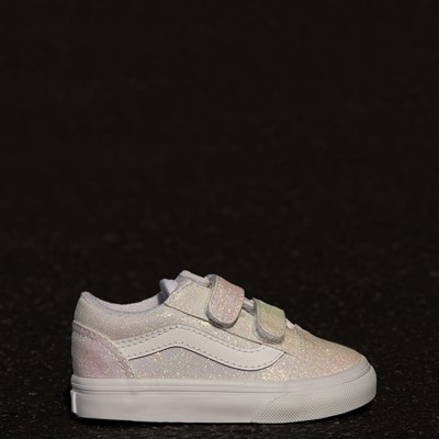 Alternate view of Vans Old Skool V Skate Shoe - Baby / Toddler - White / UV Glitter