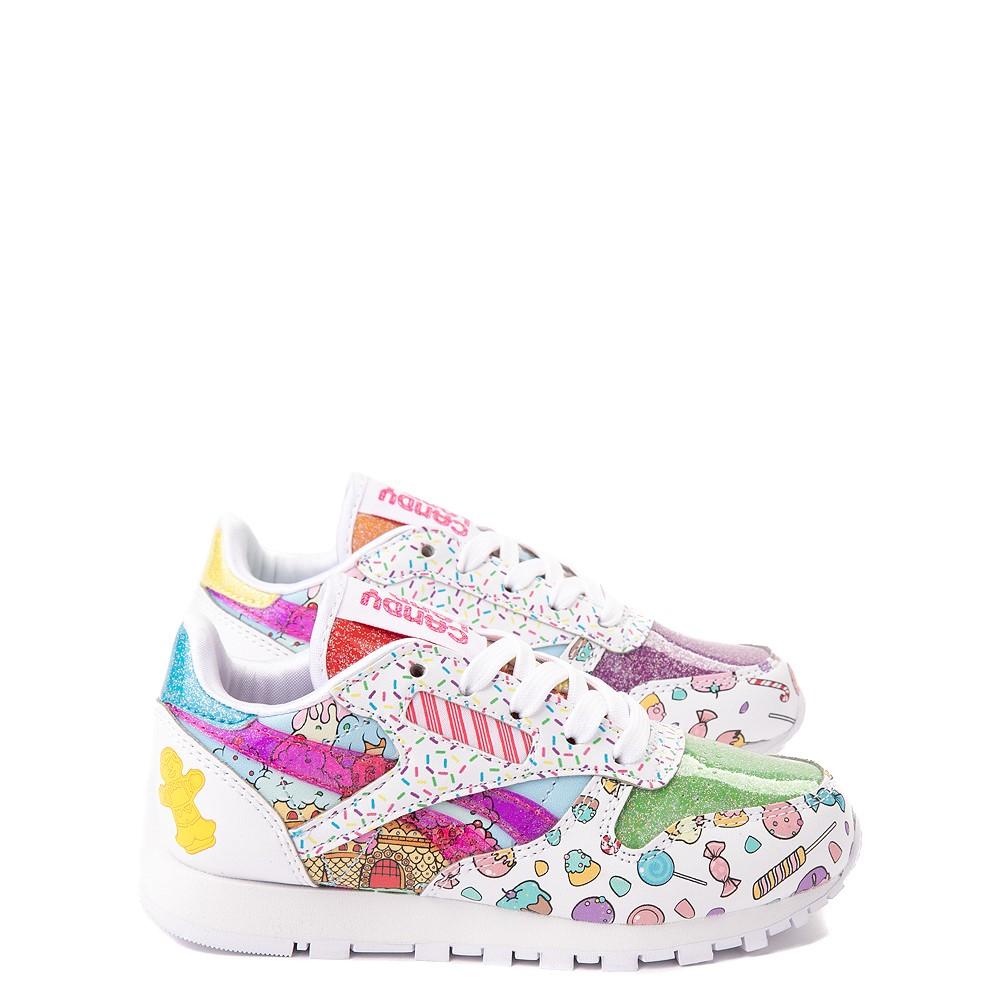 Reebok Candy Land Classic Athletic Shoe - Little Kid - White / Aubergine / Super Green