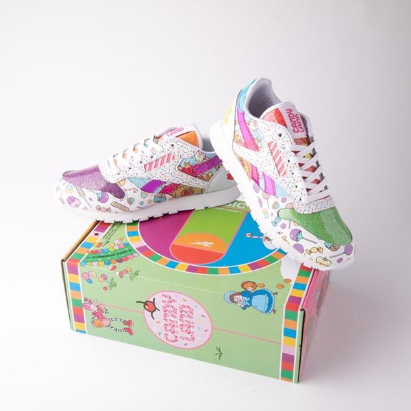 alternate view Reebok Candy Land Classic Athletic Shoe - Big Kid - White / Aubergine / Super GreenALT1B