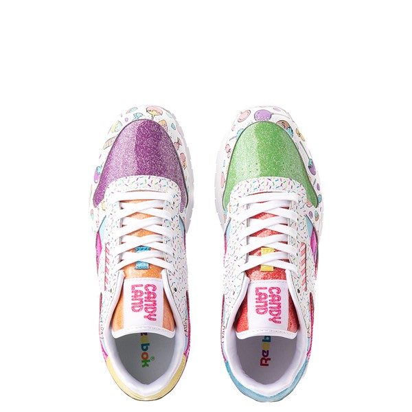 alternate view Reebok Candy Land Classic Athletic Shoe - Big Kid - White / Aubergine / Super GreenALT2