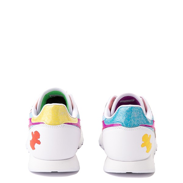 alternate view Reebok Candy Land Classic Athletic Shoe - Big Kid - White / Aubergine / Super GreenALT4