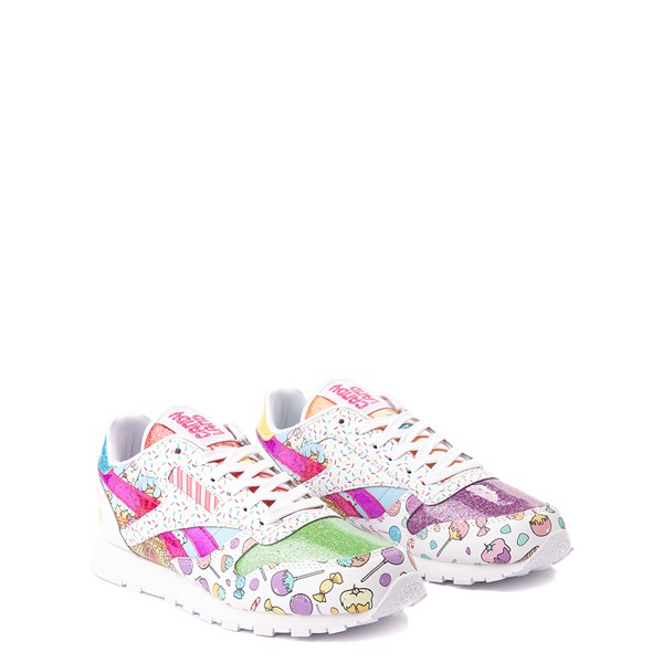 alternate view Reebok Candy Land Classic Athletic Shoe - Big Kid - White / Aubergine / Super GreenALT5