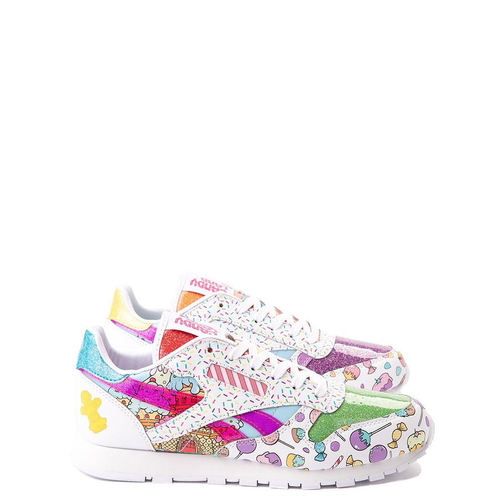 Reebok Candy Land Classic Athletic Shoe - Big Kid - White / Aubergine / Super Green