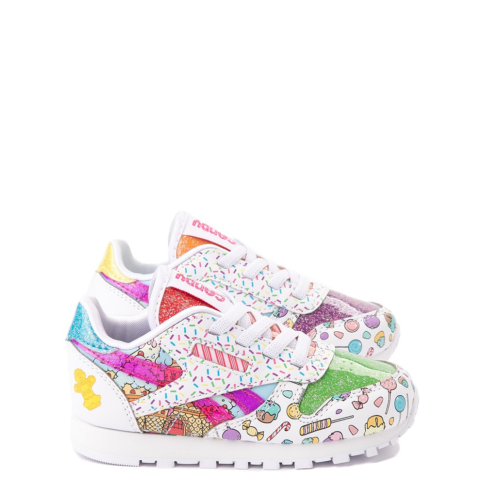 Reebok Candy Land Classic Athletic Shoe - Baby / Toddler - White / Aubergine / Super Green