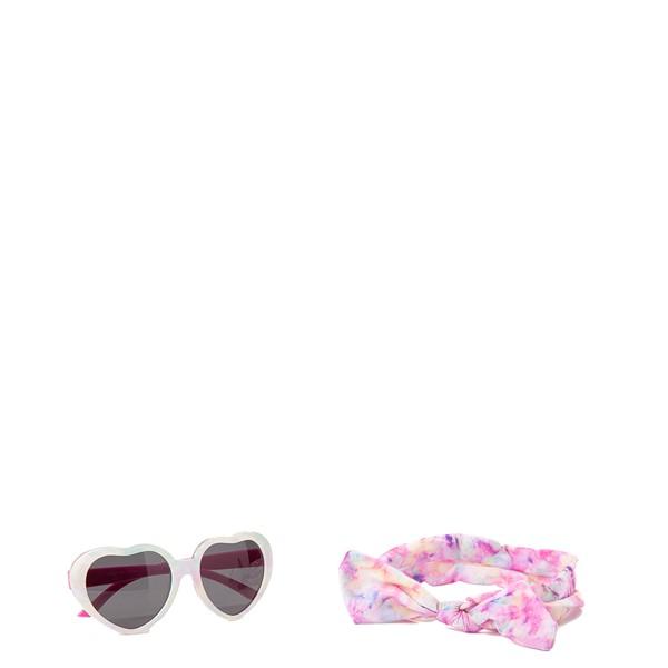 Main view of Heart Sunglasses and Headband Set - Pink
