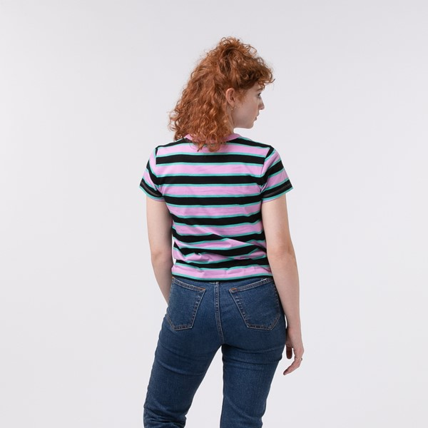 alternate view Womens Vans Big Stripe Baby Tee - BlackALT1