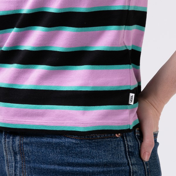 alternate view Womens Vans Big Stripe Baby Tee - BlackALT4