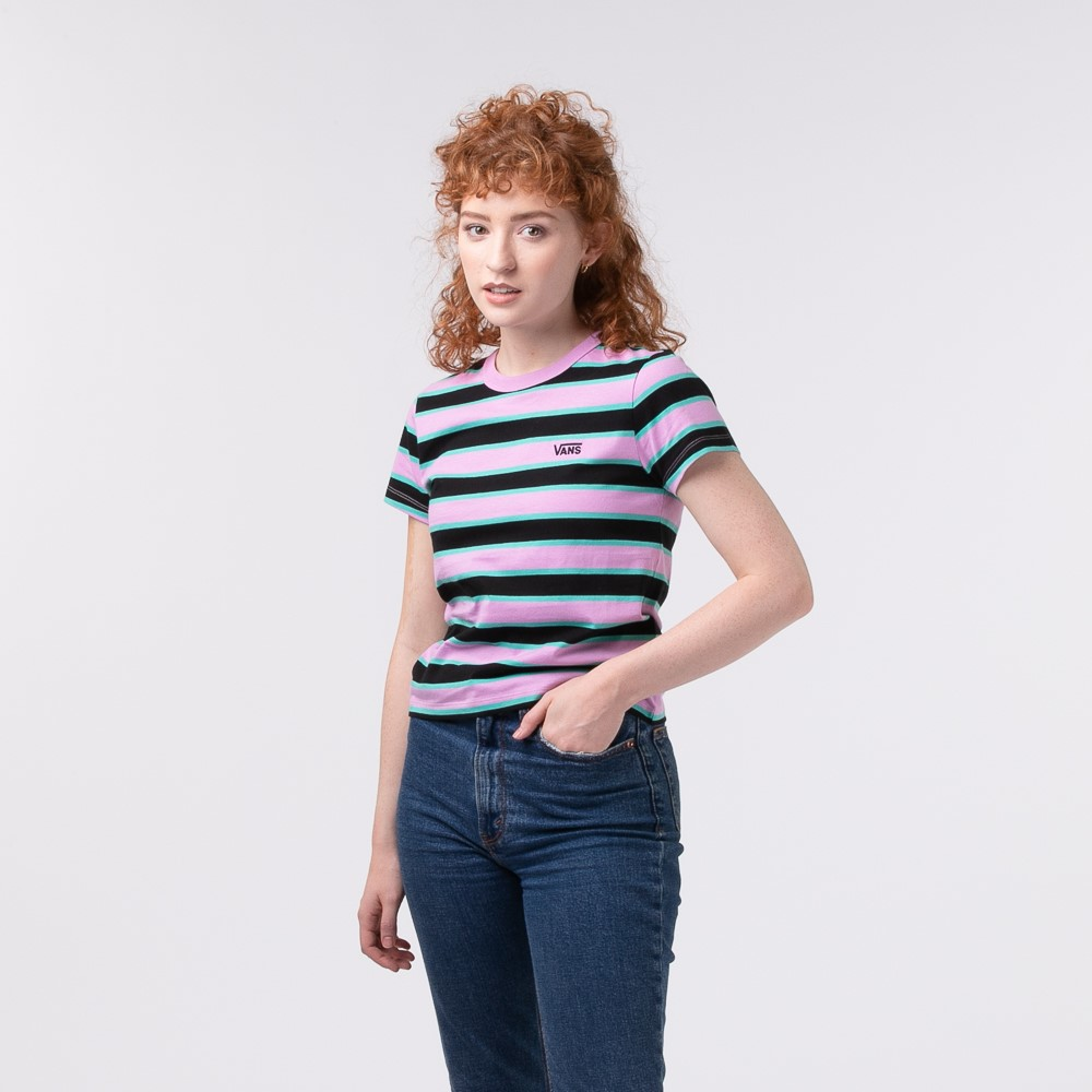 Womens Vans Big Stripe Baby Tee - Black