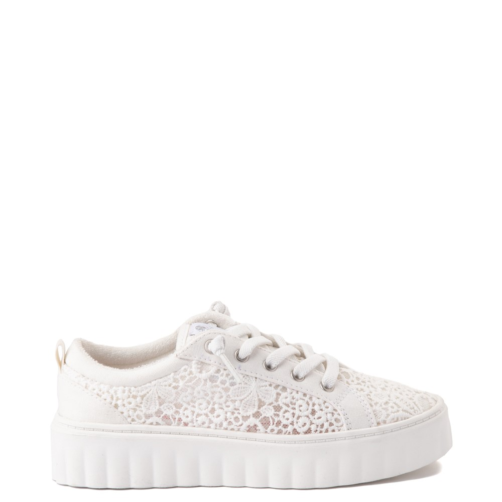 Womens Roxy Sheilahh Crochet Platform Casual Shoe - White
