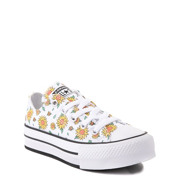 alternate view Converse Chuck Taylor All Star Lift Lo Sneaker - Little Kid / Big Kid - White / FloralALT5