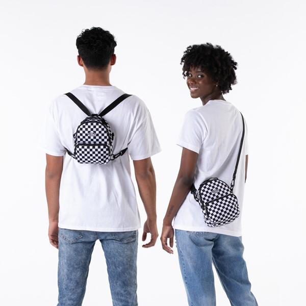 alternate view Vans Warped Checkerboard Mini Backpack - Black / WhiteALT1BADULT