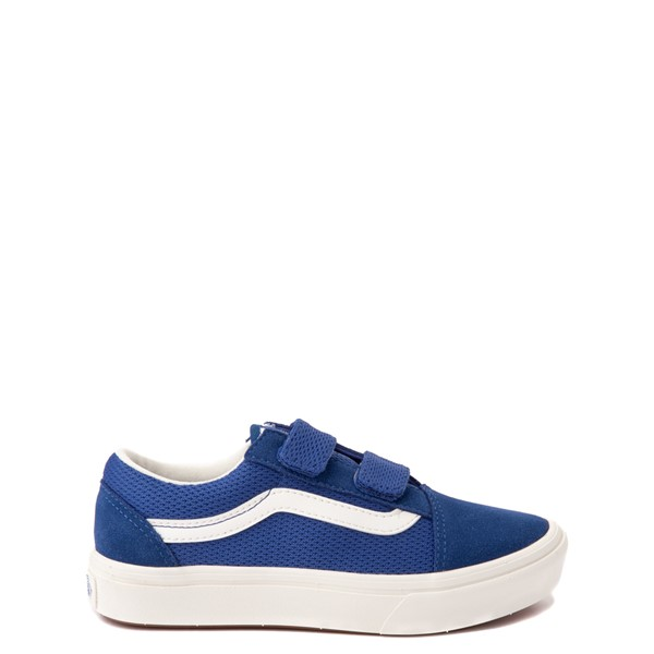 Main view of Vans Old Skool V ComfyCush® Autism Acceptance Checkerboard Skate Shoe - Little Kid - True Blue
