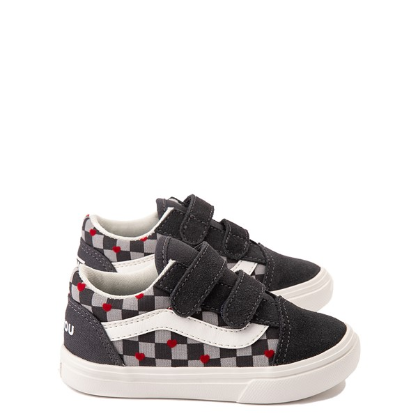 Main view of Vans Old Skool V ComfyCush® Autism Acceptance Checkerboard Skate Shoe - Baby / Toddler - Asphalt