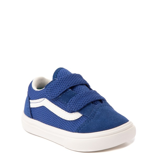 alternate view Vans Old Skool V ComfyCush® Autism Acceptance Checkerboard Skate Shoe - Baby / Toddler - True BlueALT5