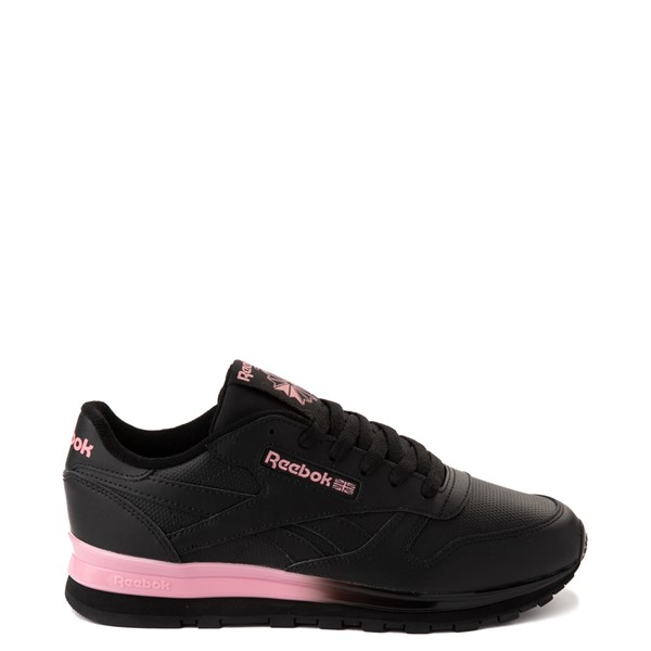 Womens Reebok Classic Leather Clip Athletic Shoe - Black / Pink
