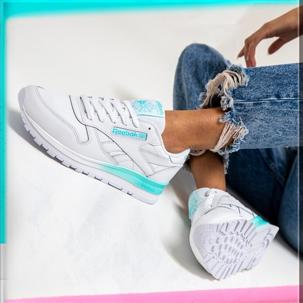 alternate view Womens Reebok Classic Athletic Shoe - White / AquaALT1B