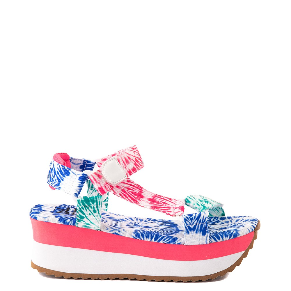 Womens Dirty Laundry Going Out Platform Sandal - White / Tie Dye