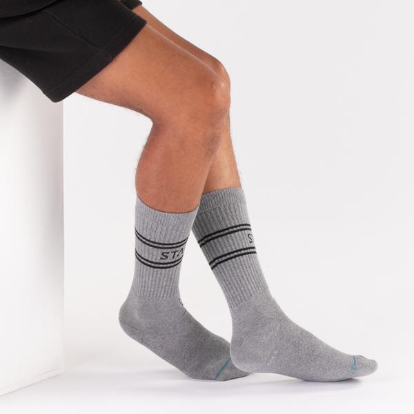 alternate view Mens Stance Basic Crew Socks 3 Pack - Black / White / GrayALT1