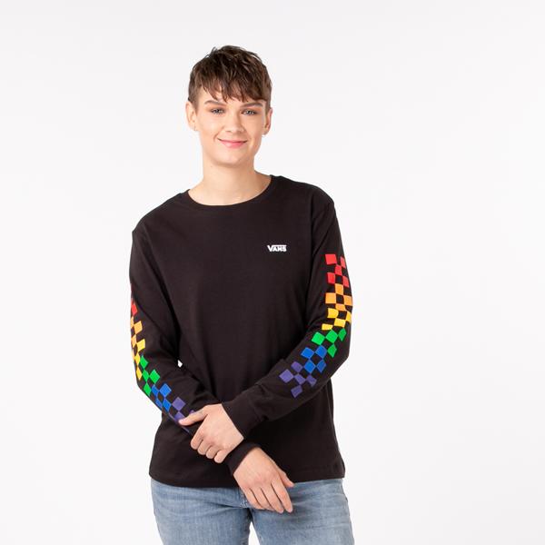 Womens Vans Pride Checkerboard Long Sleeve Tee - Black / Rainbow