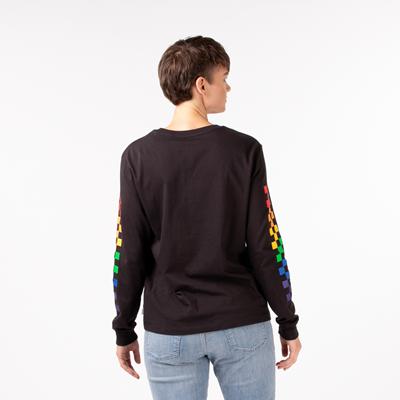 Alternate view of Womens Vans Pride Checkerboard Long Sleeve Tee - Black / Rainbow