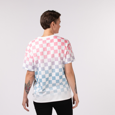 Alternate view of Womens Vans Check Dip Dye Tee - Marshmallow / Pink / Blue