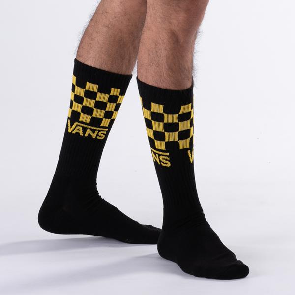 alternate view Mens Vans Checkered Crew Socks 3 Pack - Black / MulticolorALT1