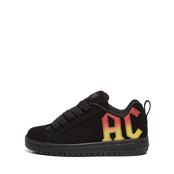 alternate view DC Court Graffik AC/DC Skate Shoe - Little Kid / Big Kid - BlackALT1