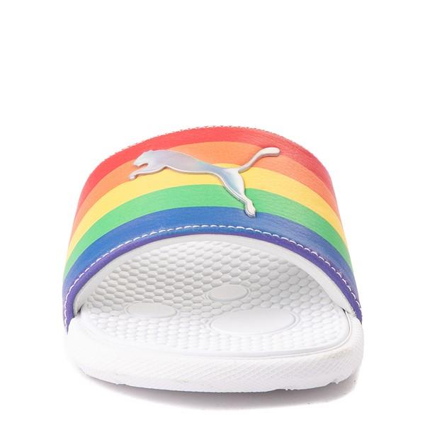 alternate view Puma Cool Cat Slide Sandal - Big Kid - White / RainbowALT4
