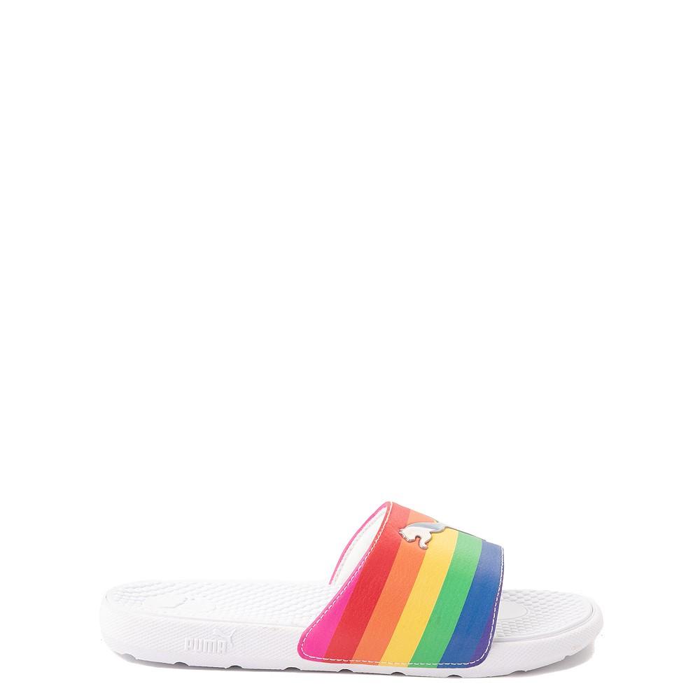 Puma Cool Cat Slide Sandal - Big Kid - White / Rainbow