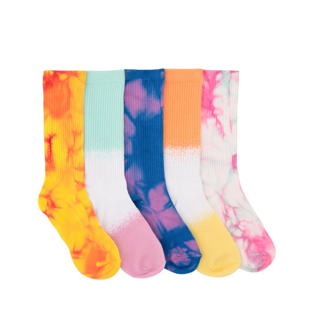 Womens True Tie Dye Crew Socks 5 Pack - Multicolor