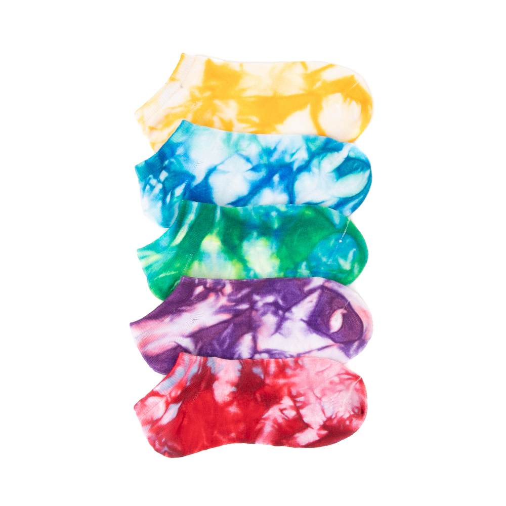 Womens Color Tie Dye Low Cut Socks 5 Pack - Multicolor