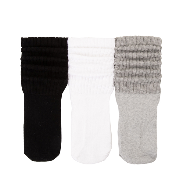 Womens Slouch Socks 3 Pack - Black / White / Grey
