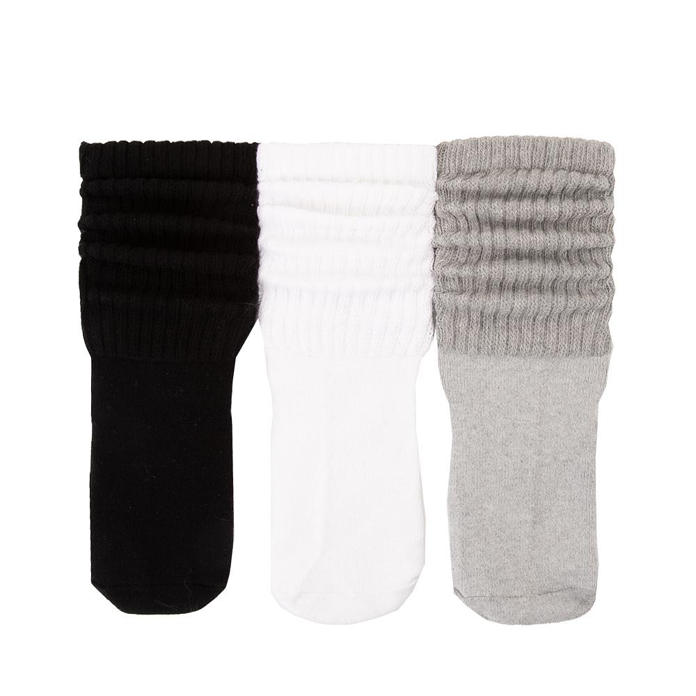 Womens Slouch Socks 3 Pack - Black / White / Grey