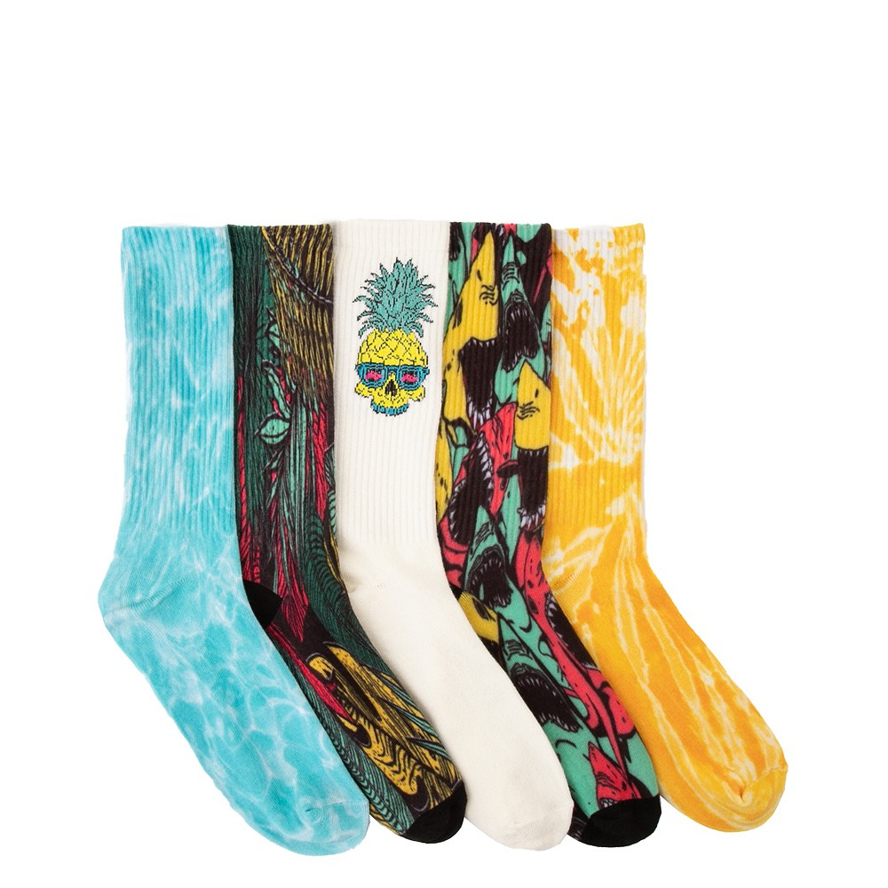 Mens Vacay Crew Socks 5 Pack - Multicolor