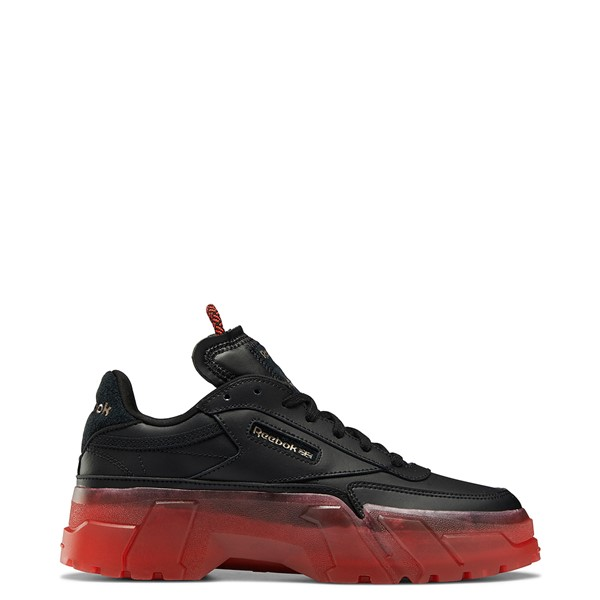Main view of Womens Reebok x Cardi B Club C Athletic Shoe - Black / Vector Red