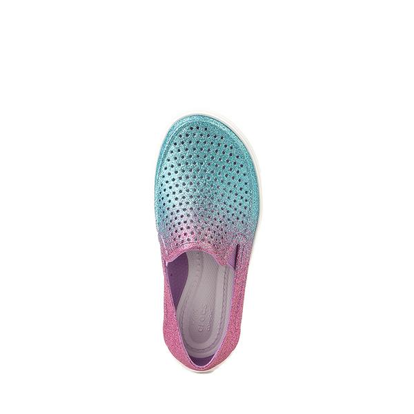 alternate view Crocs CitiLane Roka Glitter Slip On Casual Shoe - Baby / Toddler / Little Kid - Ice Blue / Paradise PinkALT2