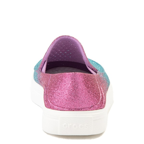 alternate view Crocs CitiLane Roka Glitter Slip On Casual Shoe - Baby / Toddler / Little Kid - Ice Blue / Paradise PinkALT4