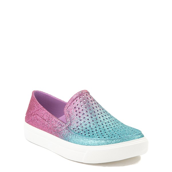 alternate view Crocs CitiLane Roka Glitter Slip On Casual Shoe - Baby / Toddler / Little Kid - Ice Blue / Paradise PinkALT5