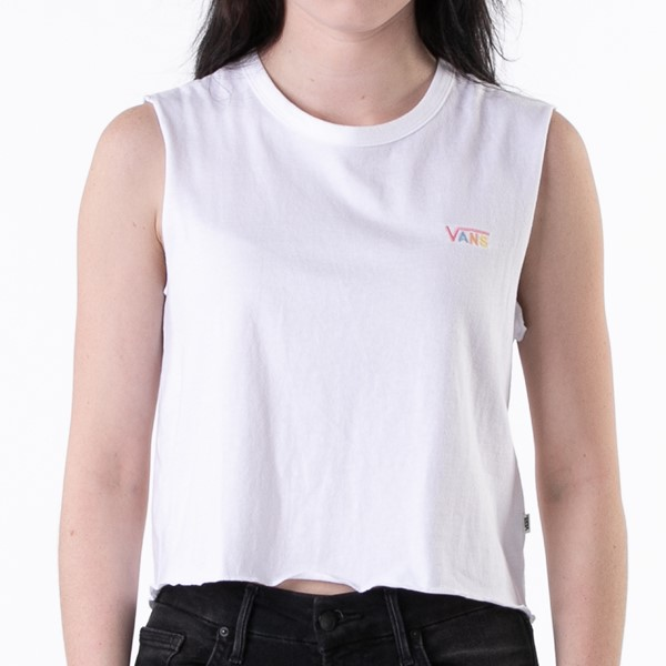 alternate view Womens Vans Junior V Muscle Crop Tank - WhiteALT1B