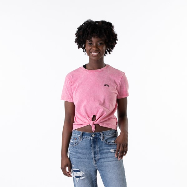 Womens Vans Junior V Boyfriend Knot Tee - Pink Lemonade