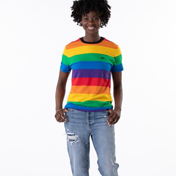 alternate view Womens Vans Pride Striped Tee - RainbowALT1